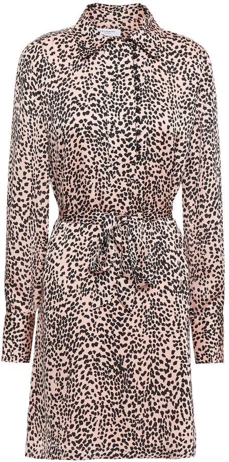 Equipment Temera Leopard-print Washed-crepe Mini Shirt Dress