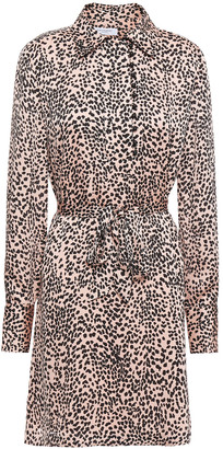 Equipment Temera Leopard-print Washed-crepe Mini Shirt Dress