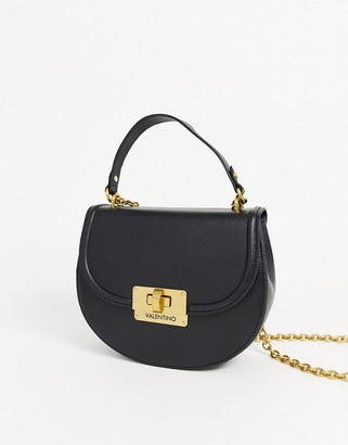 Mario Valentino Valentino By Valentino by Mario Chicago black leather saddle cross body bag with chain strap