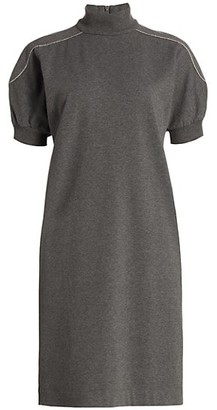 Brunello Cucinelli Monili Short-Sleeve Turtleneck Knit Dress