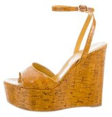 Sergio Rossi Glazed Cork Platform Wedges