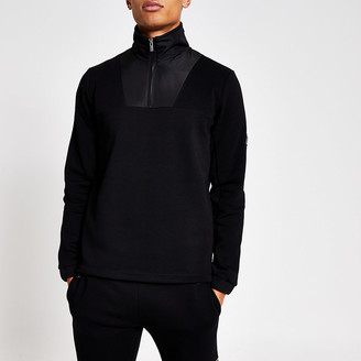 River Island MCMLX black funnel neck slim fit sweatshirt
