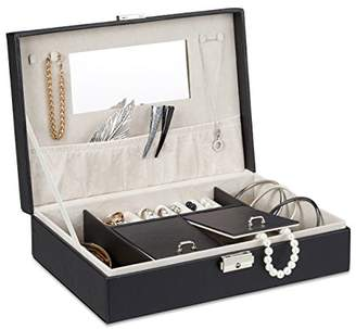 Camilla And Marc Relaxdays Faux Leather Jewellery Box, Case with Mirror and Lock, 28 x 19.5 cm, Black