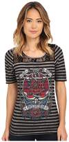 Affliction Anchors Aweigh 1/2 Sleeve Fashion Top