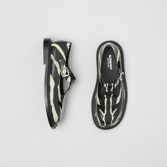 Burberry Zebra Print Leather T-bar Shoes