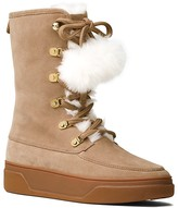 MICHAEL Michael Kors Juno Suede and Faux Fur Pom Pom Lace Up Booties