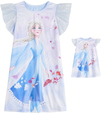 Licensed Character Disney's Frozen 2 Elsa Girls 4-8 Dorm Nightgown & Matching Doll Gown