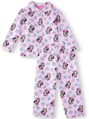 Minnie Mouse Toddler Girl Coat Style Pajamas, 2pc Set