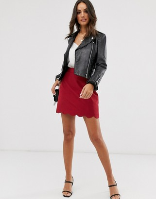 ASOS DESIGN a-line mini skirt with scallop hem in oxblood