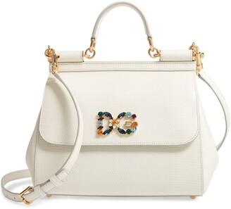 Dolce & Gabbana Miss Sicily St. Iguana Top Handle Leather Satchel