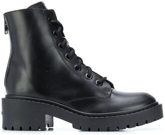 Kenzo Black Calf Leather Ankle Biker Boots