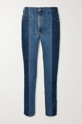 E.L.V. Denim - Net Sustain The Twin Frayed Two-tone High-rise Straight-leg Jeans - Dark denim