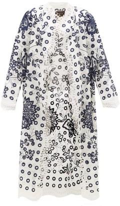 Biyan Rovine Embroidered Silk-organza Coat - Womens - Blue White