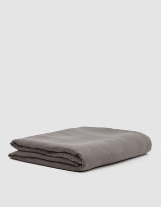 Hawkins New York King Size Simple Linen Flat Sheet in Dark Grey