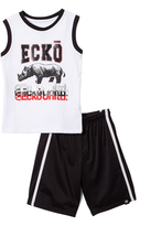 Ecko Unlimited White & Black Unltd Tank & Shorts - Toddler & Boys