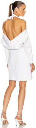 Proenza Schouler Jacquard Long Sleeve Bandana Neck Dress in White Combo | FWRD
