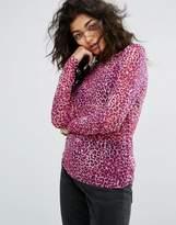Noisy May Leopard Print Sheer Top