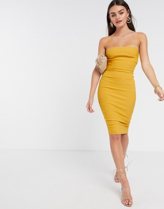 Vesper strappy midi dress in golden yellow