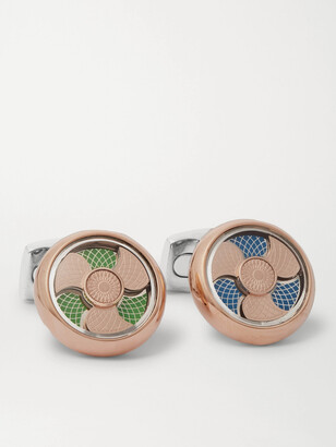 Deakin & Francis Rose Gold-Plated, Sterling Silver and Enamel Cufflinks - Men - Gold