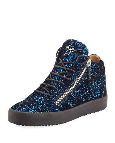 Giuseppe Zanotti Men's Glitter Velvet Mid-Top Sneakers