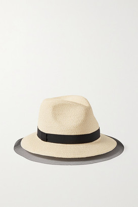 Eugenia Kim Courtney Grosgrain And Tulle-trimmed Straw Sunhat - Beige