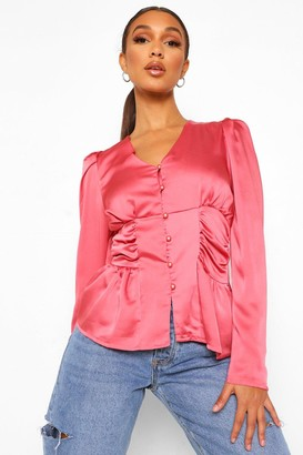 boohoo Ruched Side Button Front Satin Blouse