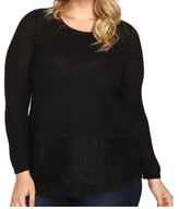 Lucky Brand Black Lace Combo Womens Size 1X Plus Scoop Neck Sweater