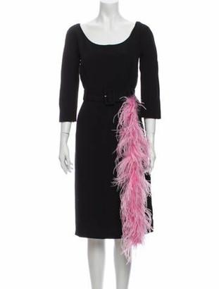 Prada Scoop Neck Knee-Length Dress w/ Tags Black