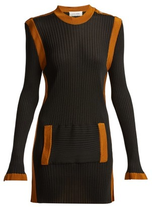 Wales Bonner Ribbed-knit Kangaroo-pocket Dress - Black Multi