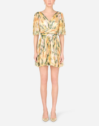 Dolce & Gabbana Short Pleated Tulle Dress With Camellia Print