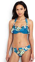 Classic Women's D-Cup Ruffle Underwire Bandeau Bikini Top-Aquamarine Sea Prairie Rose