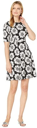 Karen Kane Daisy Print A-Line Dress (Black/White) Women's Clothing