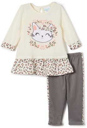 Nannette Baby Girls' Casual Dresses BEIGE - Pink Leopard Kitten Swing Top & Gray Leopard-Stripe Leggings - Infant