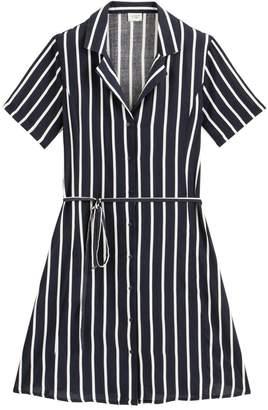 Jacqueline De Yong Star Vertical Striped Shirt Dress with Tie-Waist