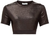 Paco Rabanne Logo-hem Metallic-jersey Cropped Top - Womens - Black