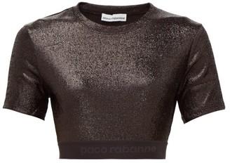 Paco Rabanne Logo-hem Metallic-jersey Cropped Top - Black