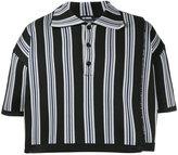 Raf Simons striped cropped polo shirt