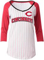 5th & Ocean Women's Cincinnati Reds Pinstripe Glitter Raglan T-Shirt