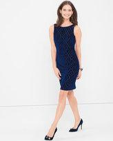 White House Black Market Blue Velvet Burnout Shift Dress