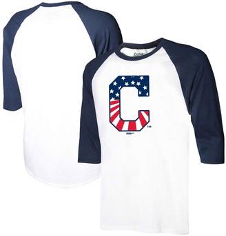 Stitches Men's White/Navy Cleveland Indians Stars & Stripes Americana Raglan 3/4-Sleeve T-Shirt