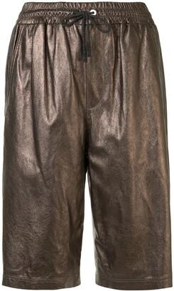 Brunello Cucinelli Metallic-Print Leather Shorts