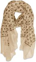 Peach Couture Beautiful Lightweight Soft Animal Owl Printed Scarf Wrap Shawl White & Coral