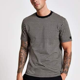 River Island Mens Brown slim fit jacquard check print T-shirt