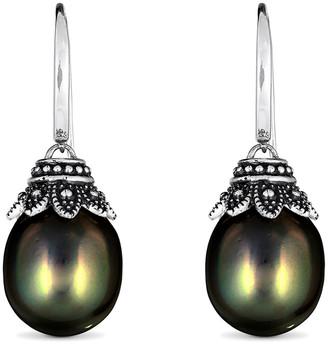 BELPEARL Silver 12Mm Tahitian Dangle Earrings