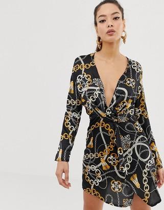 Club L London scarf print wrap front dress-Multi