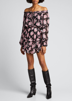 LoveShackFancy Popover Floral-Print Dress