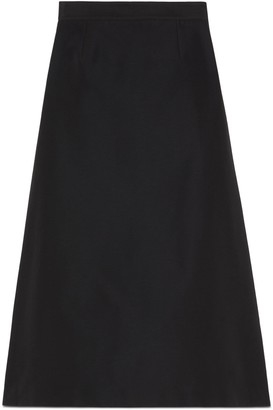 Gucci Cotton viscose faille skirt with side slits