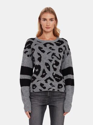 John & Jenn Finn Varsity Leopard Print Sweater