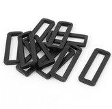 uxcell Plastic Bag Bar Slides Buckles 10 Pcs Black for 50mm Webbing Strap