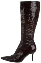 Dolce & Gabbana Embossed Knee-High Boots